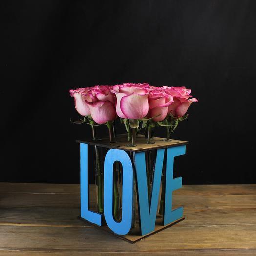 "Композиция ""Love"" (синяя) из 9 роз: букеты цветов на заказ Flowwow"