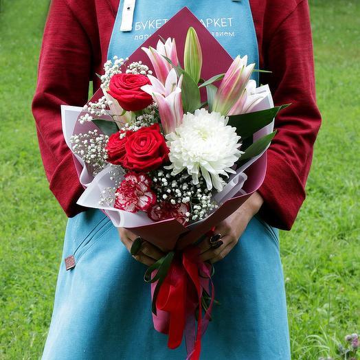 Букет из роз и лилии: букеты цветов на заказ Flowwow