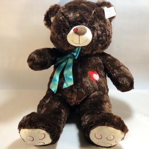 Плюшевый темный Медведь: букеты цветов на заказ Flowwow