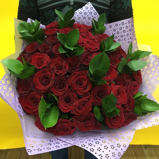 Букет из красных роз 50см: букеты цветов на заказ Flowwow