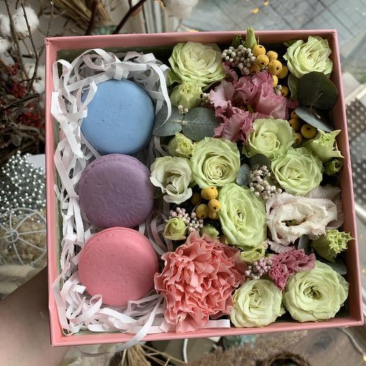 Коробка с мыльными макаронс: букеты цветов на заказ Flowwow