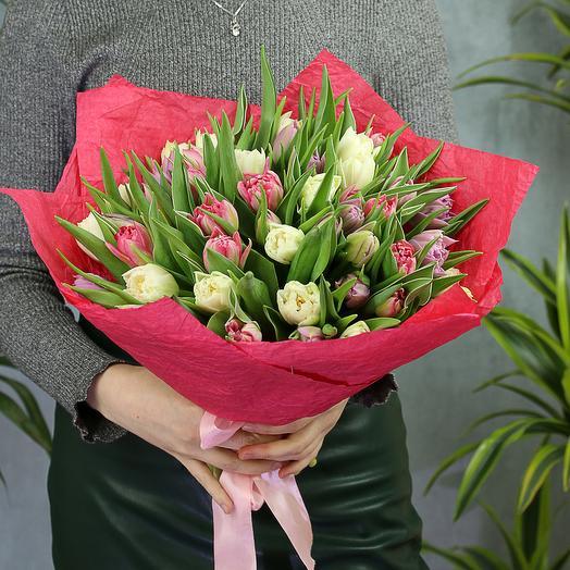 51 бело-розовый пионовидный тюльпан: букеты цветов на заказ Flowwow
