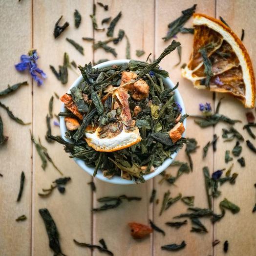 Зеленый чай с апельсином и корицей - Зимний сон