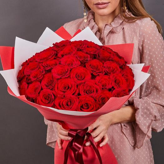 51 красная роза премиум