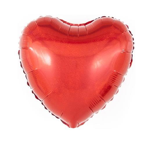 Шар Сердце красный голография
