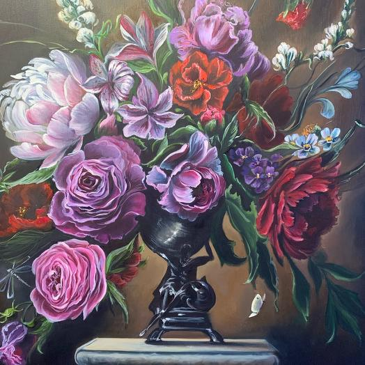"""Painting """" Bouquet of flowers in the Flemish style»"""