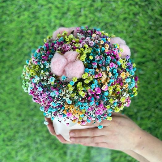 Rainbow baby's breath and pink cotton hat box