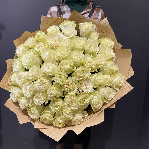"""Букет """"Фьор де латте"""" из 51 белой розы 70см"""