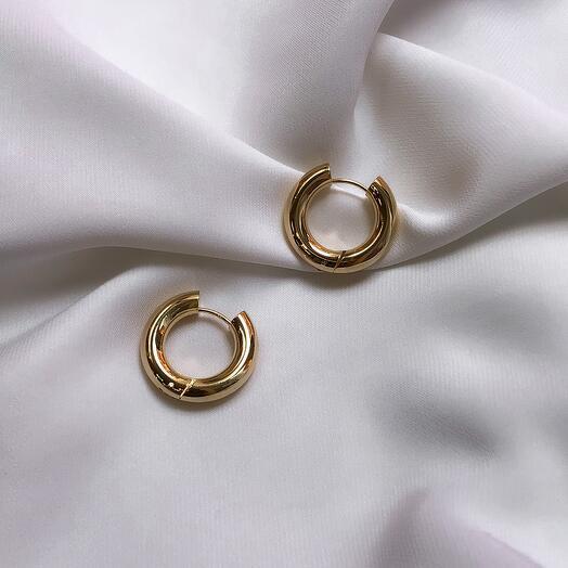 Серьги - кольца Leda hoops Base - золото