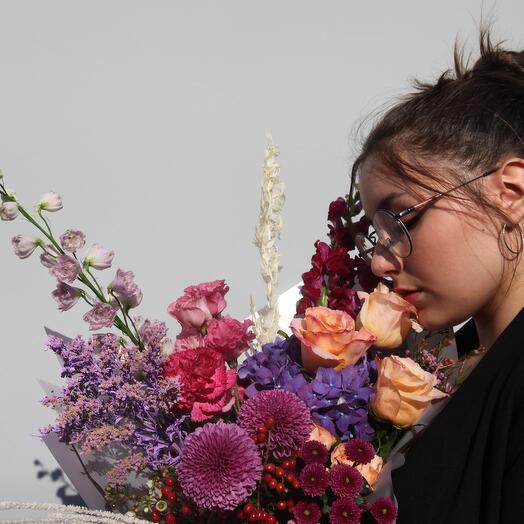 Букет с розой Шиммер и гортензией