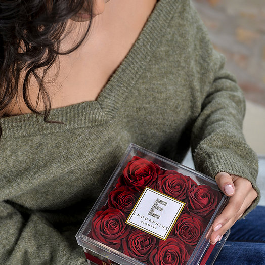 Acrylic box with eternal red roses - acrylic box with an eternal red: flowers to order Flowwow