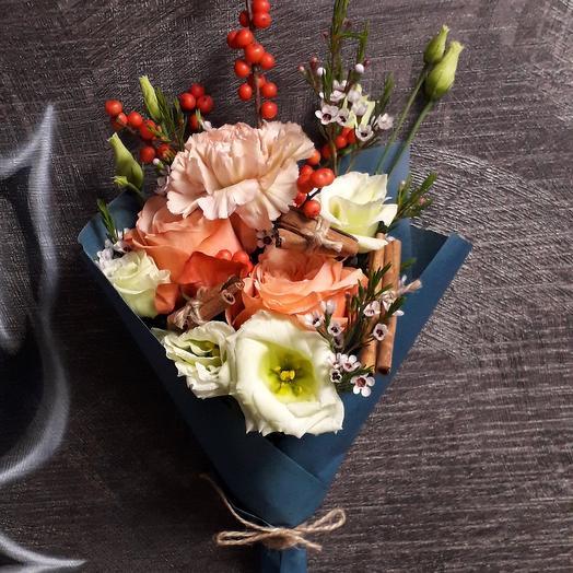 "Букет с розами и корицей ""Винтаж"": букеты цветов на заказ Flowwow"