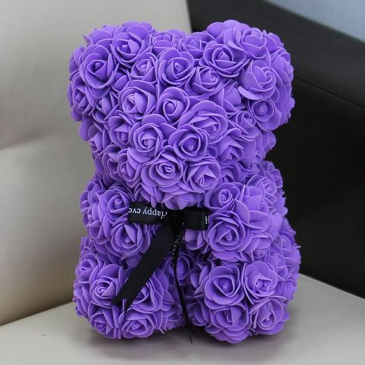 Мишка из роз «Сирень»: букеты цветов на заказ Flowwow