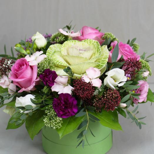 "Шляпная коробка ""Экзотика"": букеты цветов на заказ Flowwow"