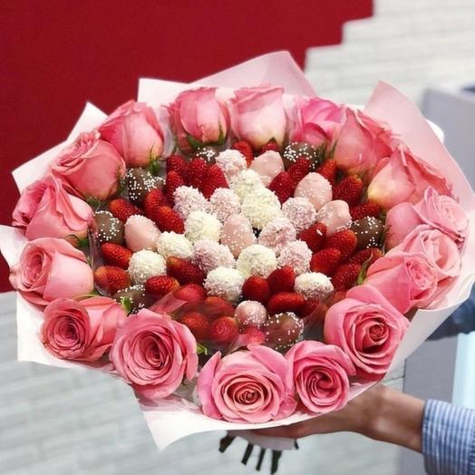 """Клубничный букет """"Pink """": букеты цветов на заказ Flowwow"""