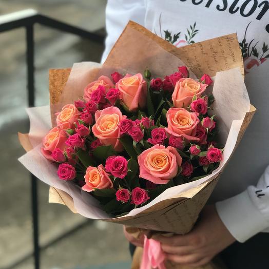 Розы. Букет микс. N497: букеты цветов на заказ Flowwow