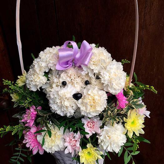Игрушка из цветов Собачка: букеты цветов на заказ Flowwow