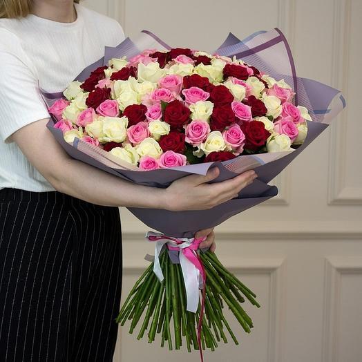 101 роза МИКС в матовой пленке