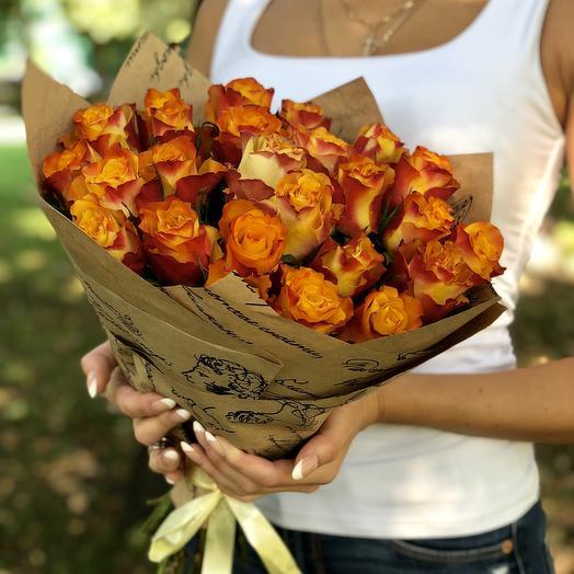 25 огненных роз: букеты цветов на заказ Flowwow