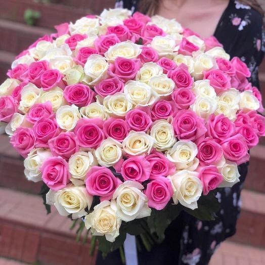 101 Роза Розовая+белая: букеты цветов на заказ Flowwow
