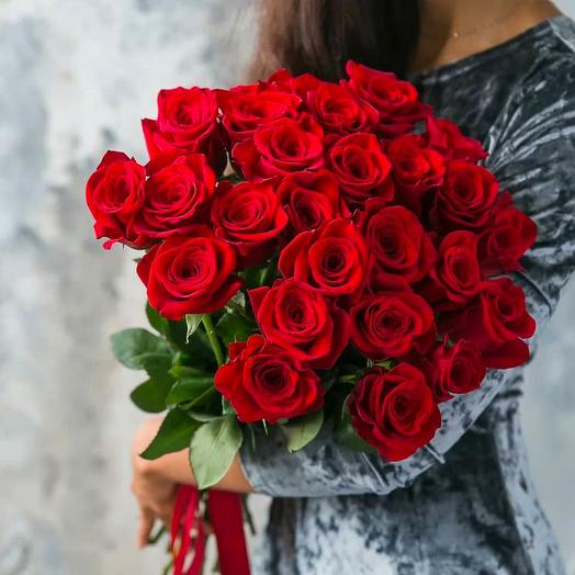 25 red roses with ribbon
