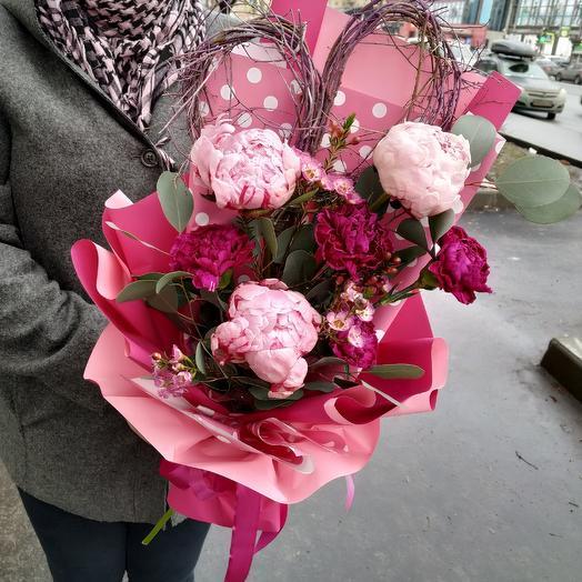 """Пионы Сара Бернар """"Это точно любовь"""": букеты цветов на заказ Flowwow"""