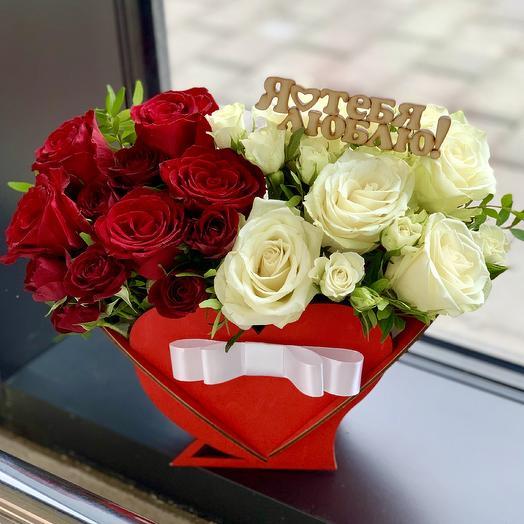Композиция «Сердце Омбре»: букеты цветов на заказ Flowwow