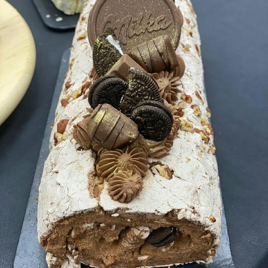 """Меренговый рулет """"Шоколад-сливочный ирис"""""""