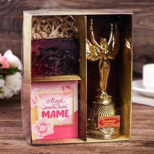 """Подарочный набор """"Лучшей маме"""" (награда, мыло, открытка)"""