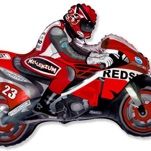 Шар фольга Фигура Мотоциклист красный