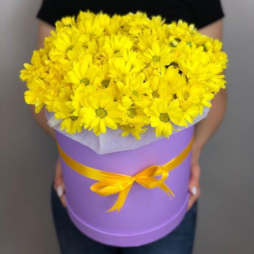 Желтые хризантемы в коробке