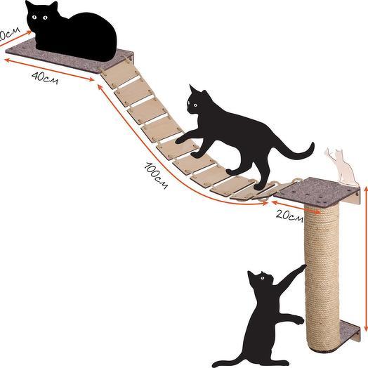 Настенный игровой комплекс для кошек Хвостович 102, цвет: бежевый