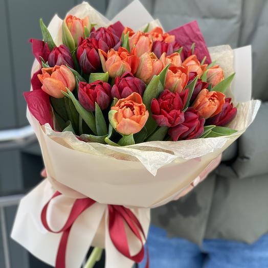 Букет Пылающий Закат из пионовидных тюльпанов