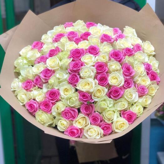 101 роза бело-розовая
