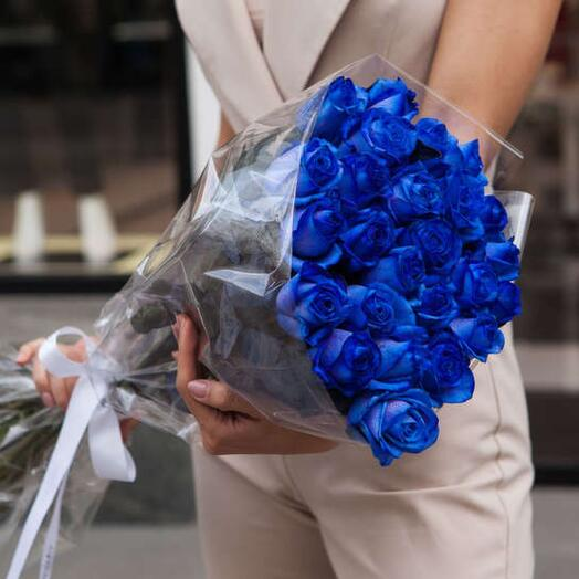 Букет из синих роз «Незабудка»