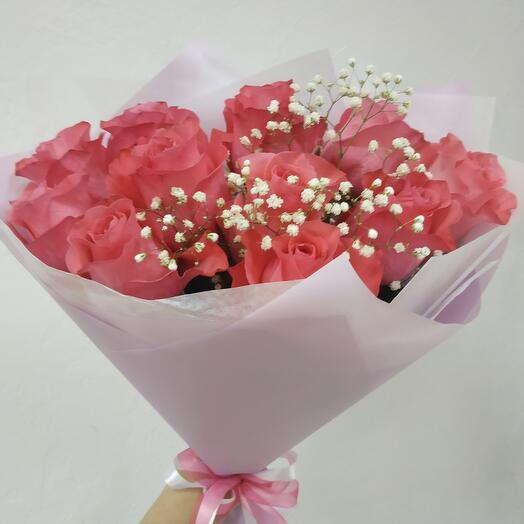 9 роз с Гипсофилой