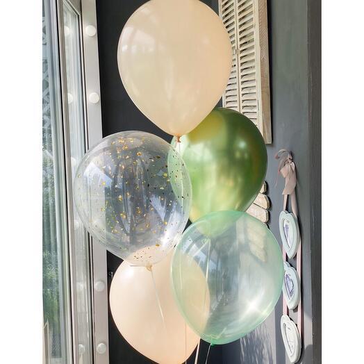 Сет из 5 шаров в бежево-зеленной  гамме