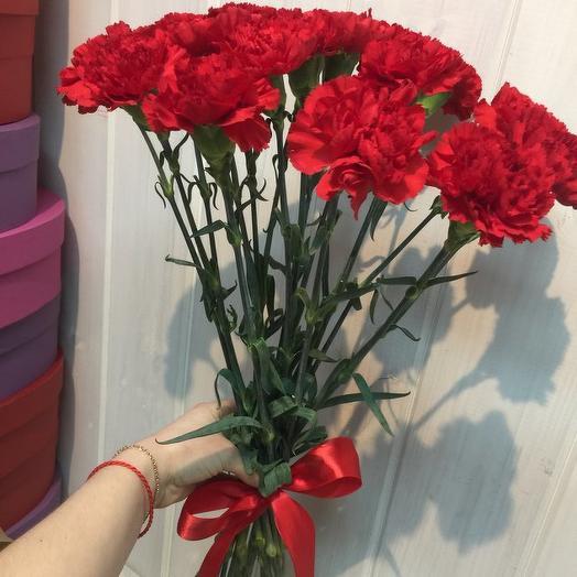 Букет из 11 красных гвоздик: букеты цветов на заказ Flowwow