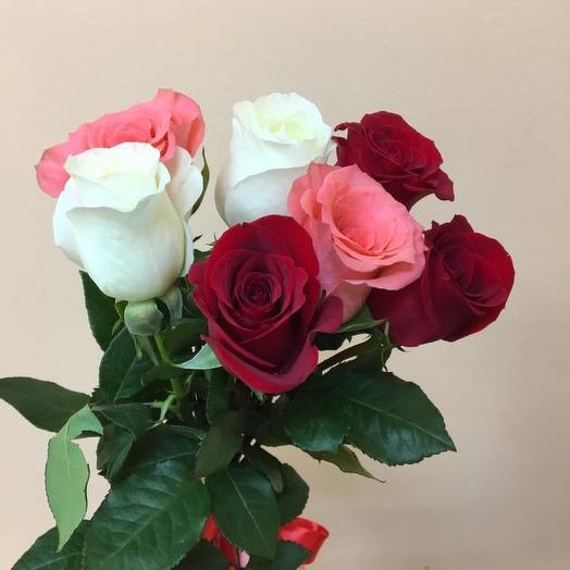 Букет из 7 разноцветных роз 60 см: букеты цветов на заказ Flowwow