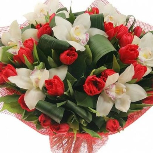 Орхидеи в тюльпанах: букеты цветов на заказ Flowwow