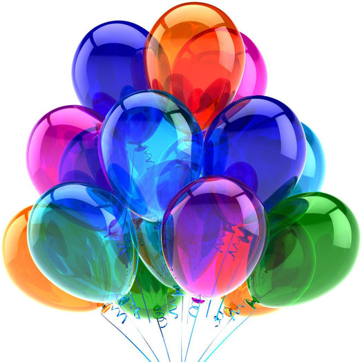 15 colorful balloons