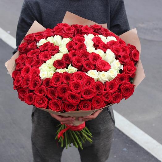 Букет из 101 розы с цифрами