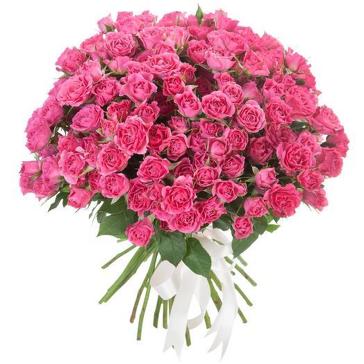 25 КУСТОВЫХ РОЗОВЫХ РОЗ: букеты цветов на заказ Flowwow