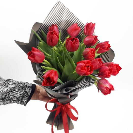 Black and red: 15 peony tulips: flowers to order Flowwow