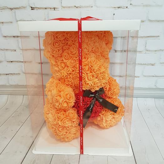 Мишка оранжевый с сердцем: букеты цветов на заказ Flowwow