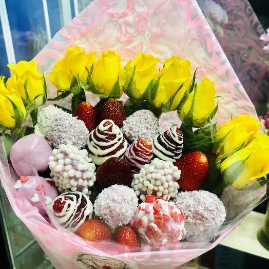 Букет из клубники «Лимончелло»: букеты цветов на заказ Flowwow