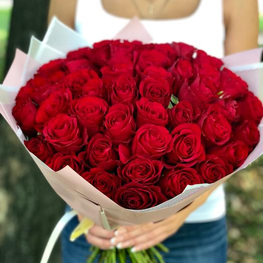 51 Red roses, 50 cm: flowers to order Flowwow