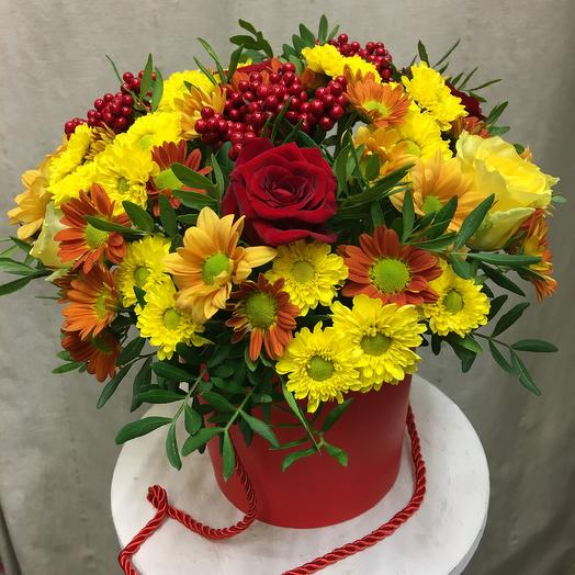 Шляпная коробка «Принцесса Осень»: букеты цветов на заказ Flowwow