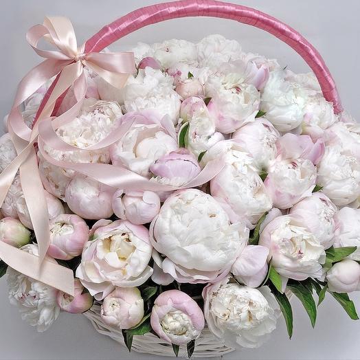 51 Пион Премиум в корзине: букеты цветов на заказ Flowwow