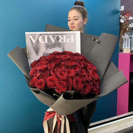 Prada bouquet of 51 red Roses